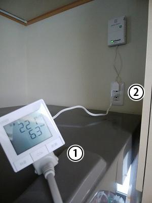 測定器を冷蔵庫に取り付けた写真。手順に沿って数字で位置が示されている