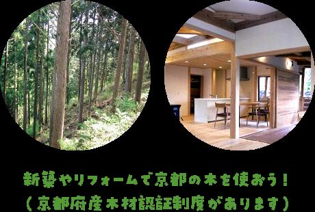 新築やリフォームで京都の木を使おう(京都府産木材認証制度があります)
